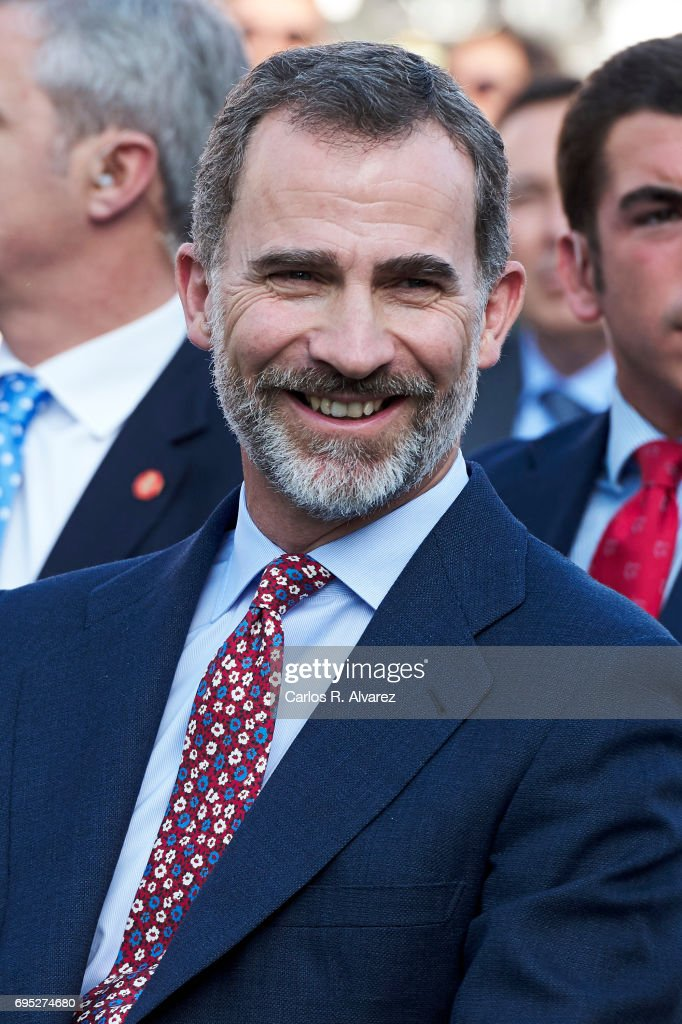 King Felipe VI of Spain attends COTECT event at the Vicente Calderon Stadium on June 12, 2017 in Madrid, Spain.