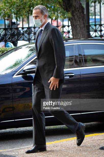 King Felipe VI of Spain attends 'Delibes' exhibition at the National Library on September 17 2020 in Madrid Spain