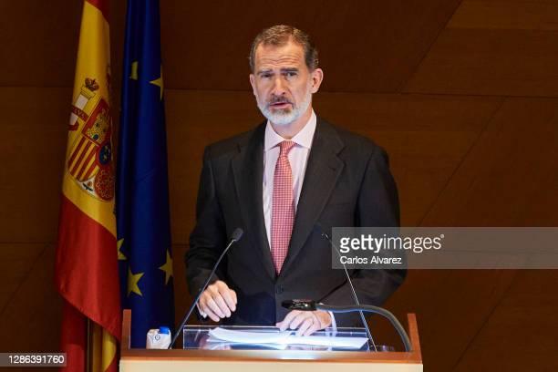 King Felipe VI of Spain attends 'Francisco Cerecedo' awards 2020 at the El Prado Museum on November 18, 2020 in Madrid, Spain.