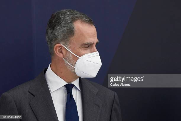 King Felipe VI of Spain attends IFEMA new Brand and strategy presentation at the Ifema Congress Palace on April 13, 2021 in Madrid, Spain.