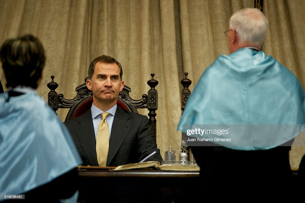 King Felipe VI of Spain attends investiture of honorary doctors by Salamanca's University at Paraninfo of Salamanca's University on April 5, 2016 in Salamanca, Spain.