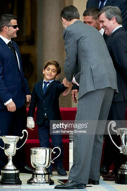 King Felipe VI of Spain attends National Sport Awards 2013 at Royal Palace of El Pardo on December 4 2014 in Madrid Spain