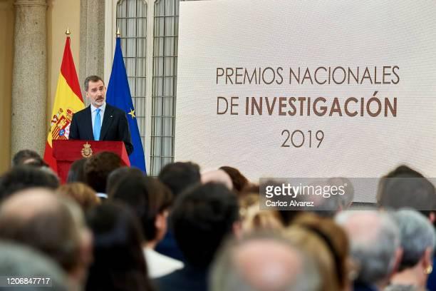 King Felipe VI of Spain attends 'Premios Nacionales De Investigacion' awards 2019 at the El Pardo Palace on February 17, 2020 in Madrid, Spain.