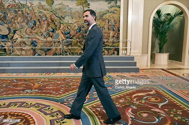 King Felipe VI of Spain attends several audiences at the Zarzuela Palace on March 13, 2015 in Madrid, Spain.