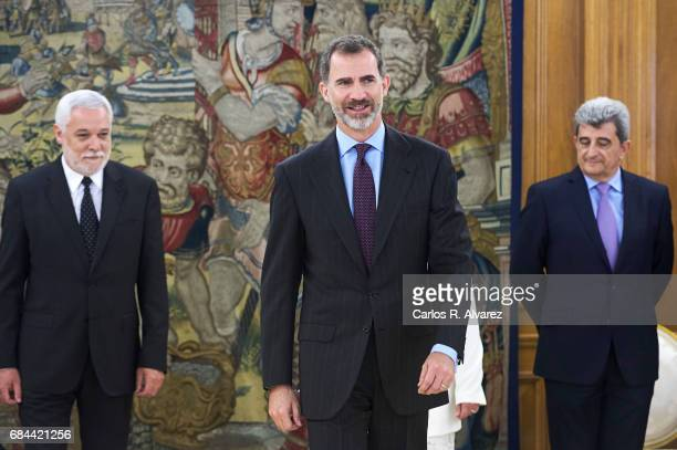 King Felipe VI of Spain attends several audiences at the Zarzuela Palace on May 18, 2017 in Madrid, Spain.