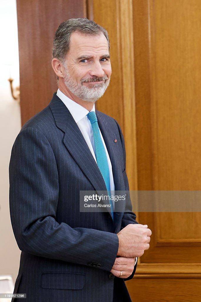 King Felipe Of Spain Attend Audiences At Zarzuela Palace : Nachrichtenfoto