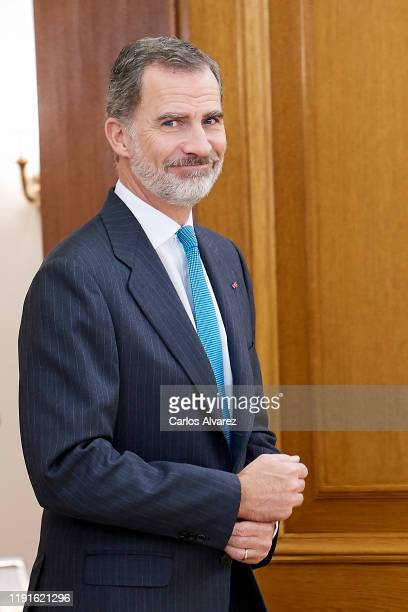 King Felipe VI of Spain attends several audiences at the Zarzuela Palace because of the United Nations conference for the Climate Summit 2019 on...