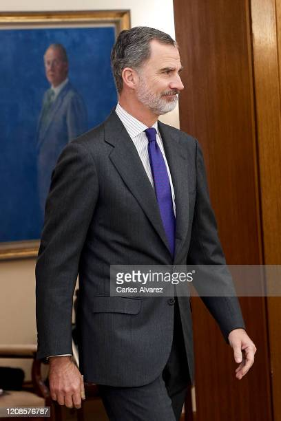 King Felipe VI of Spain attends several audiences at Zarzuela Palace on February 25 2020 in Madrid Spain