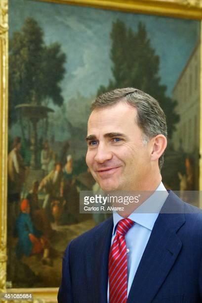 King Felipe VI of Spain attends several audiences at Zarzuela Palace on June 23, 2014 in Madrid, Spain.