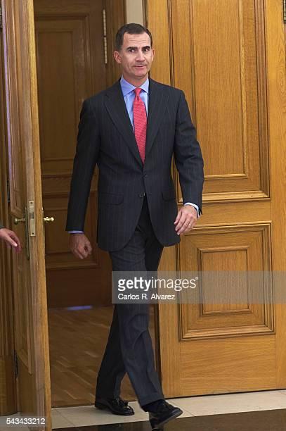 King Felipe VI of Spain attends several audiences at Zarzuela Palace on June 28, 2016 in Madrid, Spain.