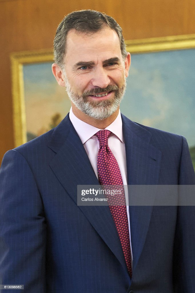 King Felipe VI of Spain attends several audiences at Zarzuela Palace on October 7, 2016 in Madrid, Spain.