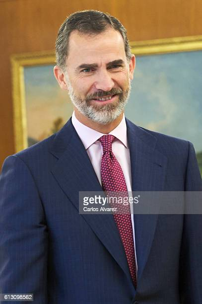 King Felipe VI of Spain attends several audiences at Zarzuela Palace on October 7 2016 in Madrid Spain