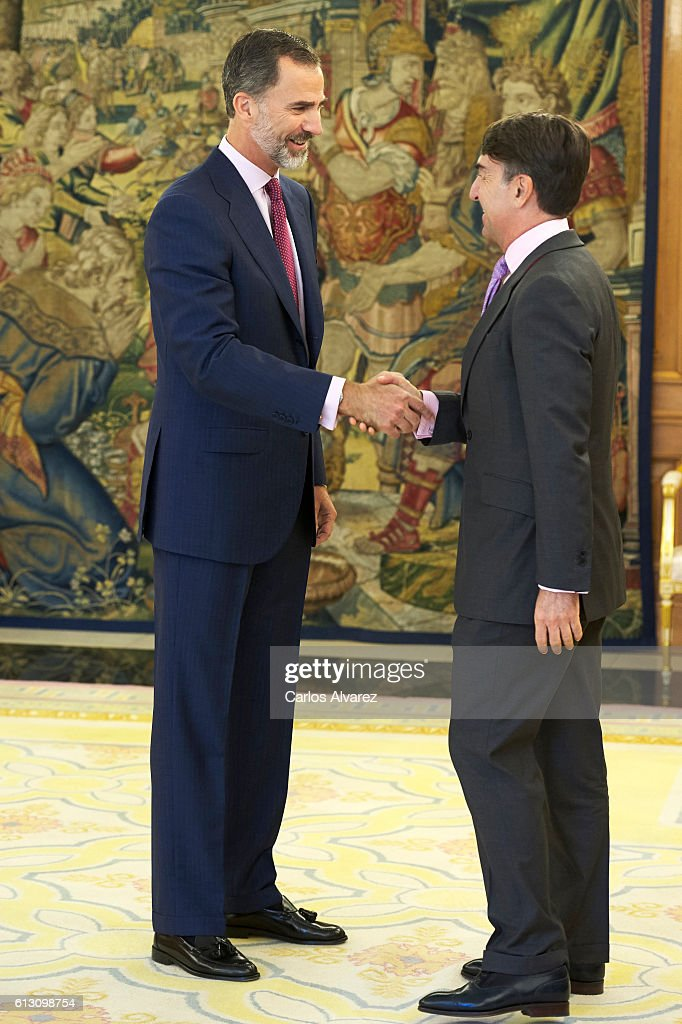 King Felipe VI of Spain (L) attends several audiences at Zarzuela Palace on October 7, 2016 in Madrid, Spain.
