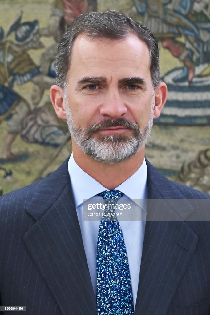 King Felipe VI of Spain attends several audiences at Zarzuela Palace on November 2, 2017 in Madrid, Spain.