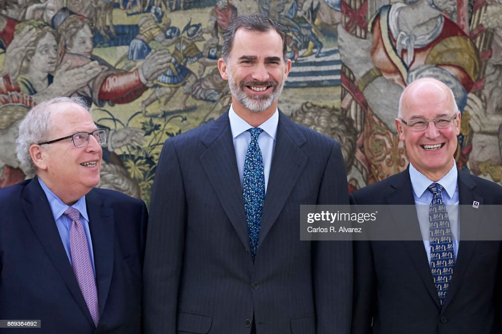 King Felipe VI of Spain (C) attends several audiences at Zarzuela Palace on November 2, 2017 in Madrid, Spain.