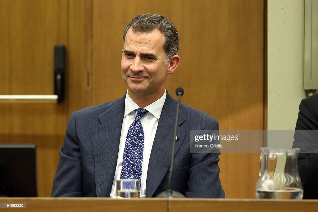 King Felipe VI of Spain attends the 10th COTEC Symposium meeting at the Consiglio Nazionale delle Ricerche on October 28, 2015 in Rome, Italy.