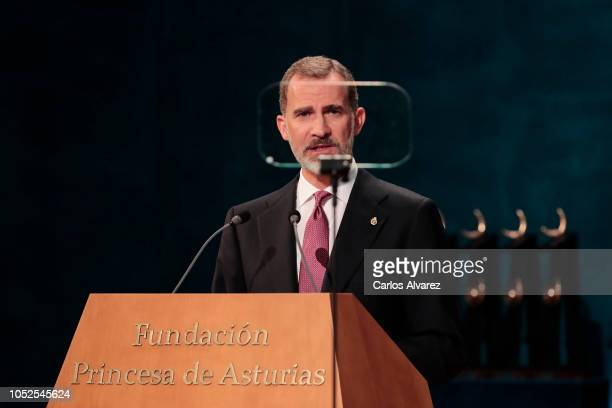 King Felipe VI of Spain attends the 2018 Princess of Asturias Awards Ceremony at the Campoamor Teather on October 19 2018 in Oviedo Spain