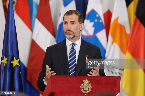 King Felipe VI of Spain attends the 30th Anniversary of Spain being part of European Communities at the Royal Palace on June 24 2015 in Madrid Spain