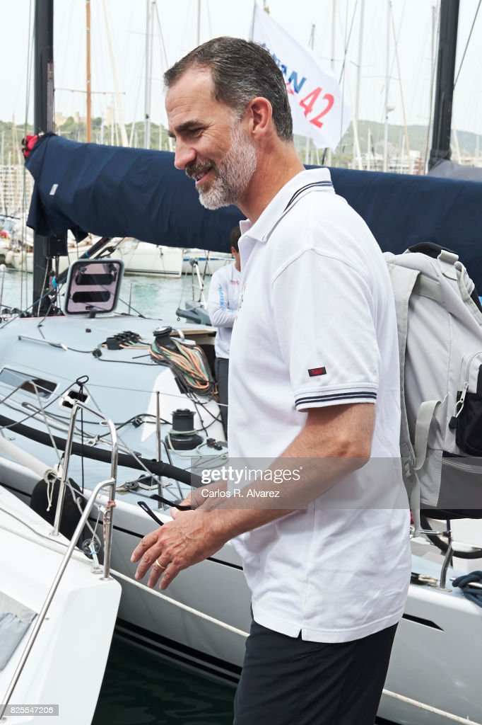 King Felipe VI of Spain attends the 36th Copa Del Rey Mafre Sailing Cup on August 2, 2017 in Palma de Mallorca, Spain.