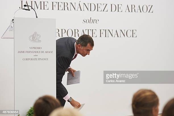 King Felipe VI of Spain attends the 6th Jaime Fernandez de Araoz award at Colegio Universitario de Estudios Financieros on September 10 2015 in...