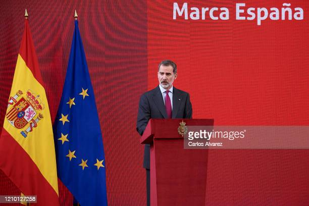 King Felipe VI of Spain attends the 8th promotion of Honorary Ambassadors for 'Spain' Brand at El Pardo Palace on March 03, 2020 in Madrid, Spain.