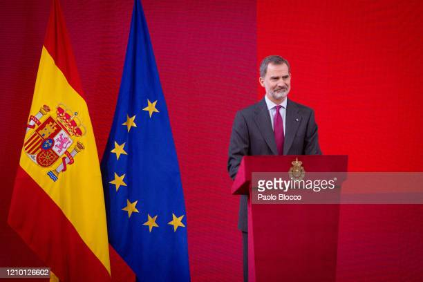 King Felipe VI of Spain attends the acreditations ceremony for honorary 'Spain Brand' Ambassadors at El Pardo Palace on March 03, 2020 in Madrid,...