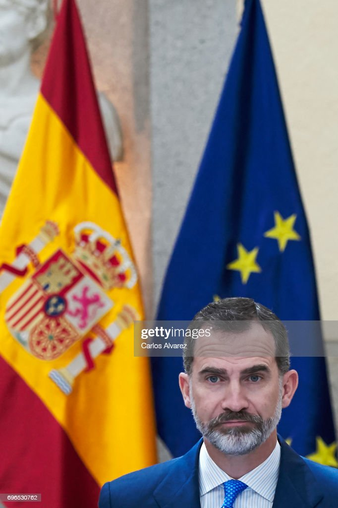 King Felipe VI of Spain attends the annual meeting with members of Princess of Asturias Foundation at El Pardo palace on June 16, 2017 in Madrid, Spain.