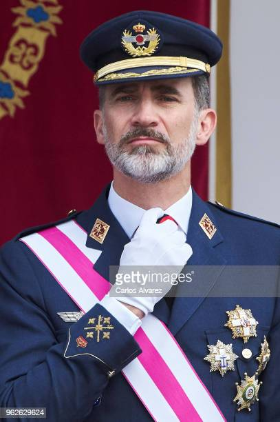 King Felipe VI of Spain attends the Armed Forces Day on May 26 2018 in Logrono Spain