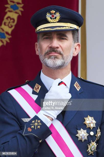 King Felipe VI of Spain attends the Armed Forces Day on May 26, 2018 in Logrono, Spain.