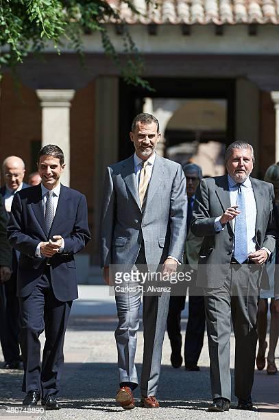 King Felipe VI of Spain attends the Camino Real award at the Alcala de Henares University on July 15 2015 in Alcala de Henares Spain