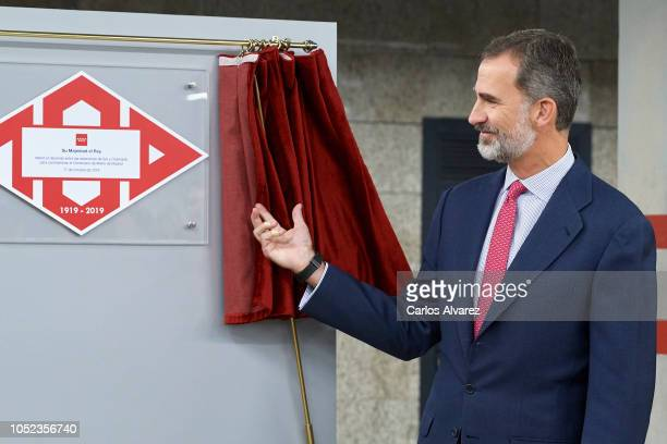 King Felipe VI of Spain attends the centenary commemoration of Madrid Underground first line opening on October 17 2018 in Madrid Spain