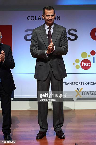King Felipe VI of Spain attends the CEPYME 2015 Awards at the Reina Sofia Museum on November 4, 2015 in Madrid, Spain.