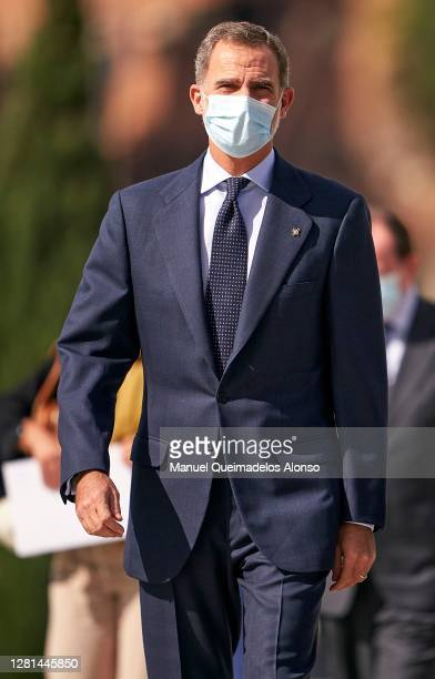 King Felipe VI of Spain attends the closure of CEDE meeting at Palau de Les Arts on October 21, 2020 in Valencia, Spain.