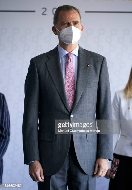 King Felipe VI of Spain attends the closure of the CEV at Paraninfo de la Universitat Jaume I In Castellon on May 06, 2021 in Castellon de la Plana,...