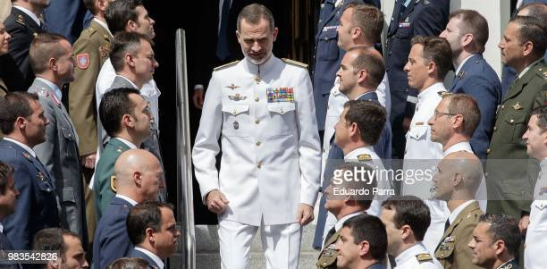 King Felipe VI of Spain attends the closure of the Senior Army course at CESEDEN on June 25 2018 in Madrid Spain