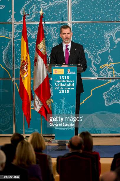 King Felipe VI of Spain attends The Commemoration of Capitulations of Valladolid at Monasterio de Nuestra Se–ora de Prado on March 22 2018 in...