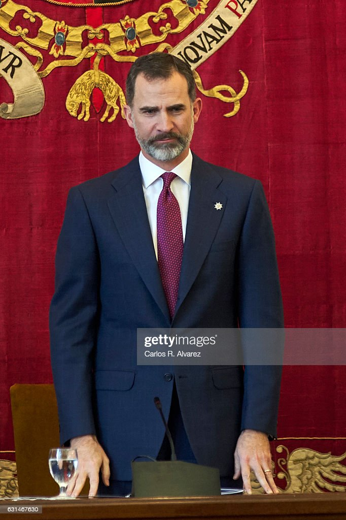 King Felipe VI of Spain attends the deliver of new positions for the assistants of Diplomats on January 11, 2017 in Madrid, Spain.