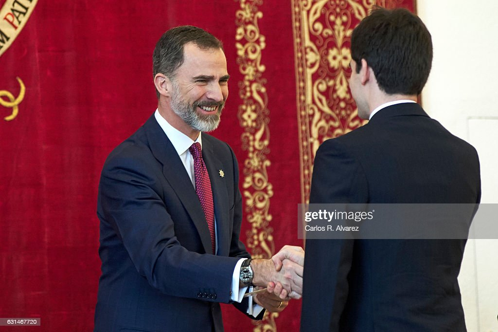 King Felipe VI of Spain (R) attends the deliver of new positions for the assistants of Diplomats on January 11, 2017 in Madrid, Spain.
