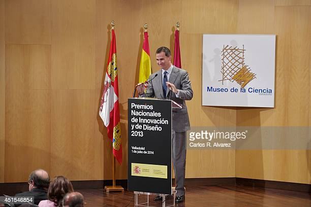 King Felipe VI of Spain attends the delivery of National Innovation and Desing Awards 2013 at Museo de la Ciencia de Valladolid on July 1 2014 in...
