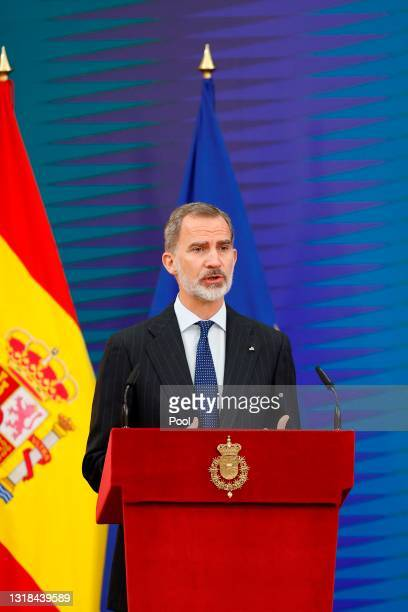 King Felipe VI of Spain attends the delivery of National Research Awards 2020 at the El Pardo Palace on May 17, 2021 in Madrid, Spain.