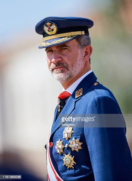 King Felipe VI of Spain attends the Delivery of Real Employment Dispatches at the General Military Academy on July 11, 2019 in San Javier, Spain.