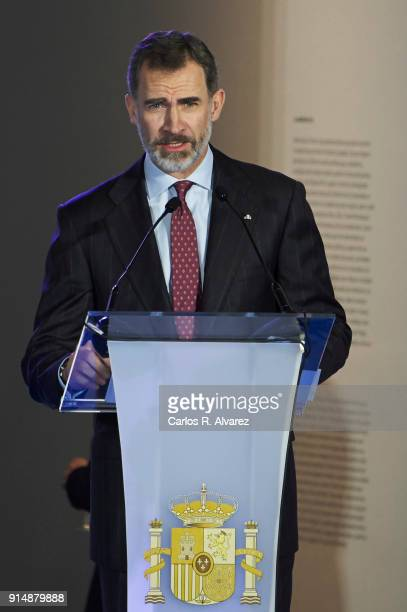 King Felipe VI of Spain attends the Gold Medals of Merit in Fine Arts 2016 ceremony at the Pompidou Center on February 6 2018 in Malaga Spain