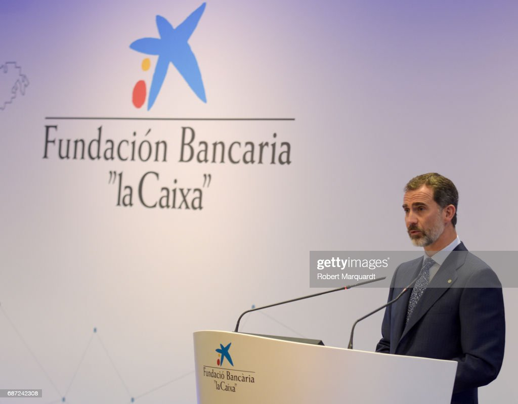 King Felipe VI of Spain attends the 'La Caixa' Scholarships held at the headquarters for La Caixa on May 23, 2017 in Barcelona, Spain.