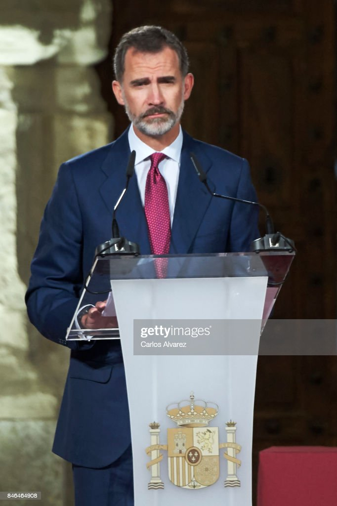 King Felipe VI of Spain attends the 'National Culture' awards at the Santa Maria y San Julian Cathedral on September 13, 2017 in Cuenca, Spain.