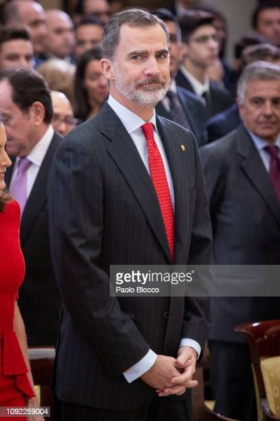 King Felipe VI of Spain attends the National Sports Awards 2017 at the El Pardo Palace on January 10, 2019 in Madrid, Spain.