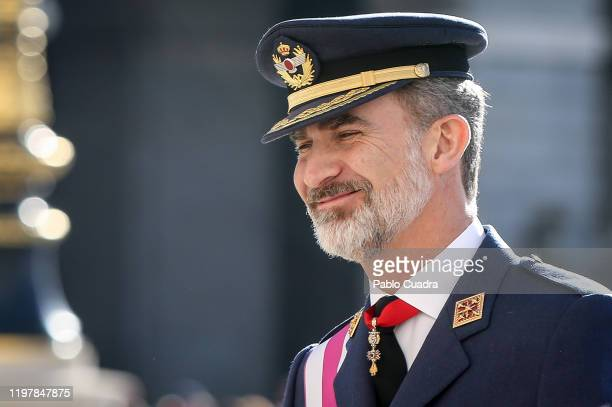 King Felipe VI of Spain attends the New Year Military parade 2020 celebration at the Royal Palace on on January 06, 2020 in Madrid, Spain.