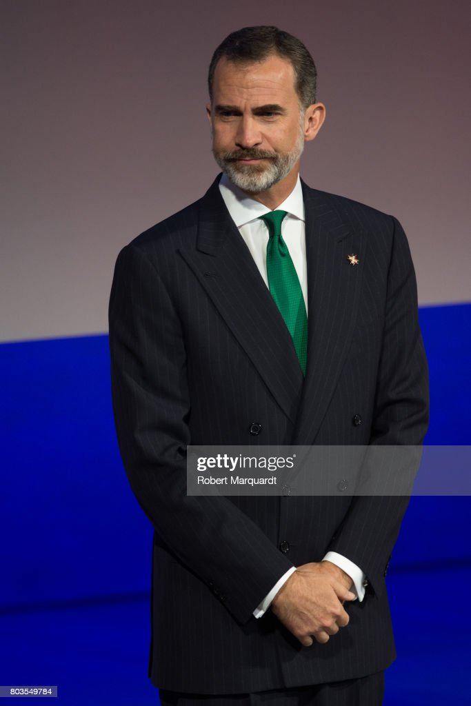 King Felipe VI of Spain attends the 'Princesa de Girona' foundation awards held at the Palacio de Congressos de Girona on June 29, 2017 in Girona, Spain.