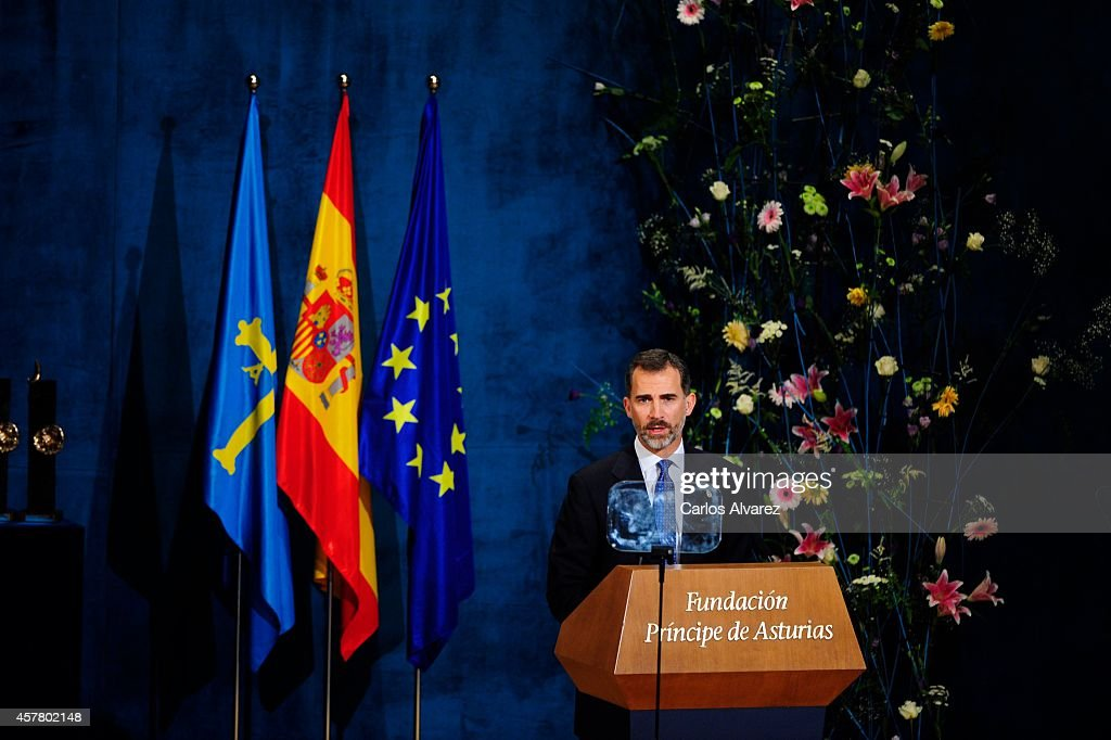 King Felipe VI of Spain attends the Principe de Asturias Awards 2014 ceremony at the Campoamor Theater on October 24, 2014 in Oviedo, Spain.