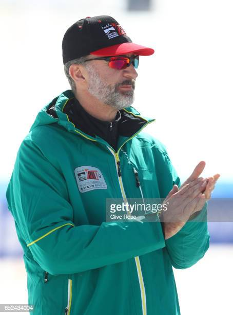 King Felipe VI of Spain attends the Snowboard Cross finals on day five of the FIS Freestyle Ski Snowboard World Championships 2017 on March 12 2017...