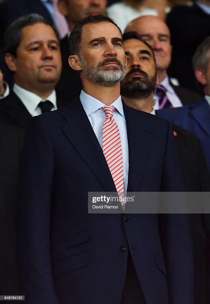 King Felipe VI of Spain attends the Spanish Copa del Rey Final match between Barcelona and Sevilla at Wanda Metropolitano stadium on April 21, 2018 in Barcelona, Spain.